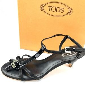 Tod's Shoes - TOD'S Italian Black Patent Leather Sandal with Bag
